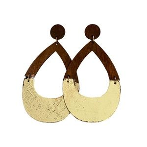 🌵Boho TearDrop Gold Plate Chandelier Wood Earring